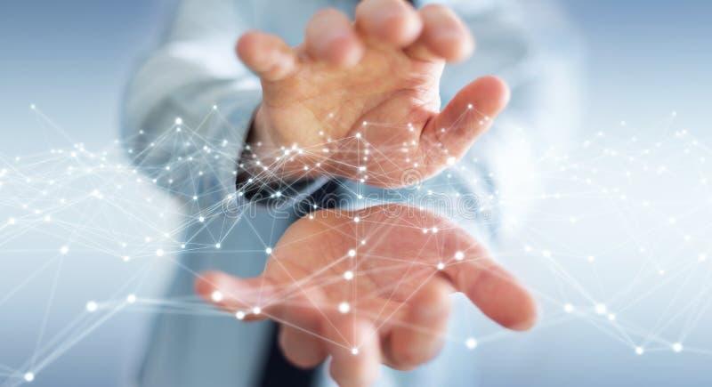 Dot flying network held by businessman 3D rendering. Dot flying network held by businessman on blurred background 3D rendering royalty free illustration