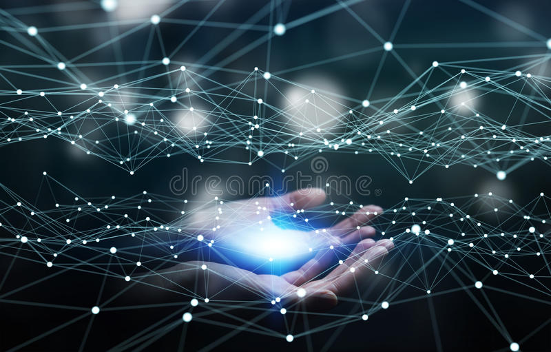 Dot flying network held by businesswoman 3D rendering. Dot flying network held by businesswoman on blurred background 3D rendering vector illustration