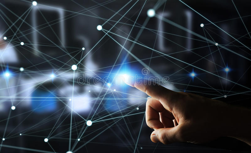 Dot flying network touched by businessman 3D rendering. Dot flying network touched by businessman on blurred background 3D rendering vector illustration