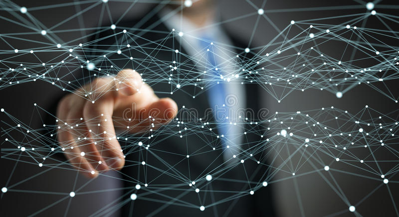 Dot flying network touched by businessman 3D rendering. Dot flying network touched by businessman on blurred background 3D rendering stock illustration
