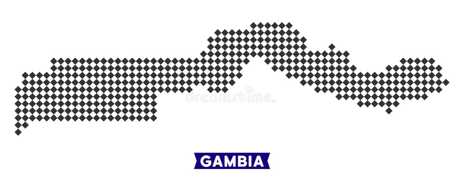 Dot The Gambia Map illustration stock
