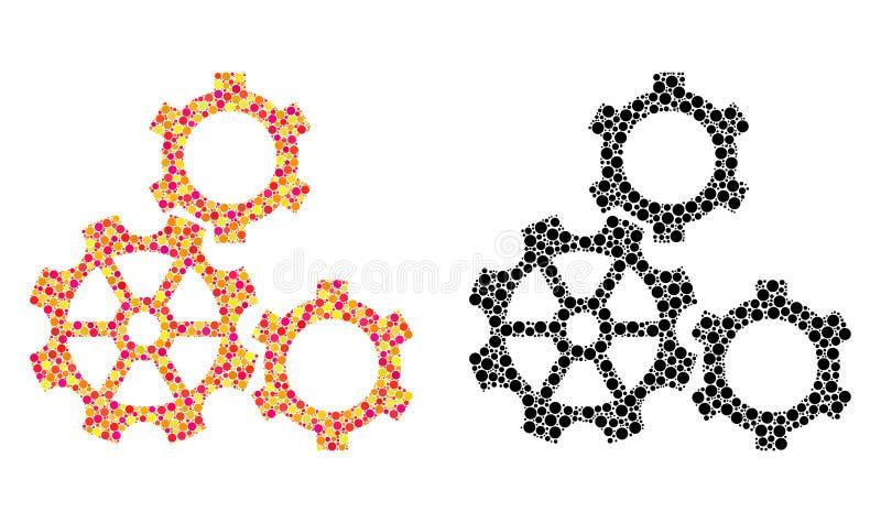 Dot Gears Mosaic Icons lizenzfreie abbildung