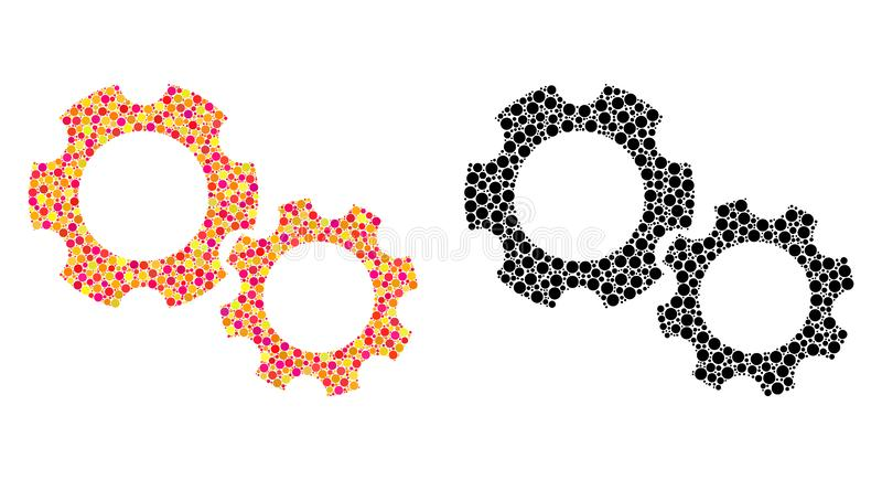 Dot Gears Mosaic Icons vektor abbildung