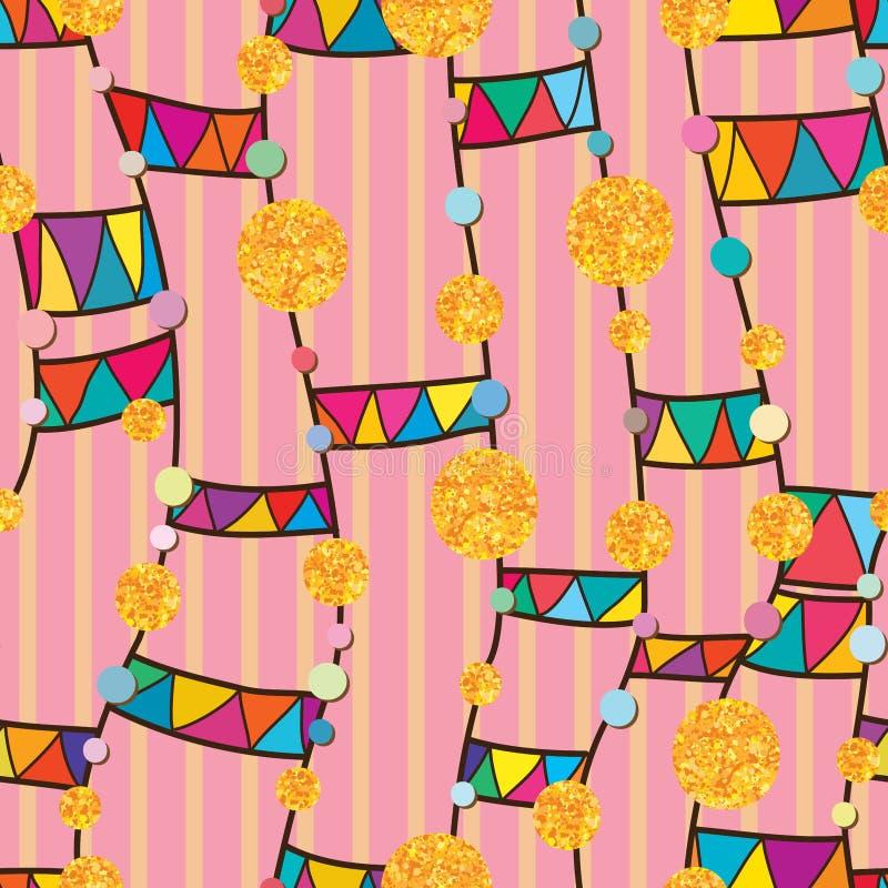 Dot gold glitter line tribal vertical feminine seamless pattern stock illustration