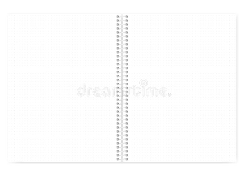 Dot grid spiral wire bound letter size note book, template. Open dot grid wire bound notebook with metal spiral, realistic vector mock up. Wirebound note book royalty free illustration