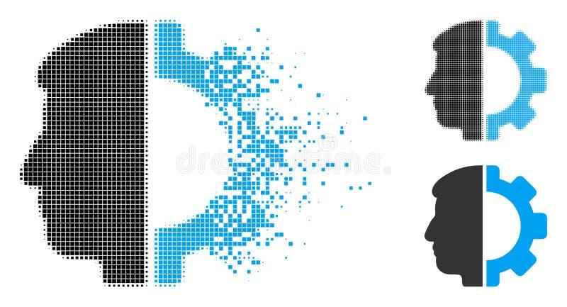 Dot Halftone Android Head Icon de desaparición libre illustration