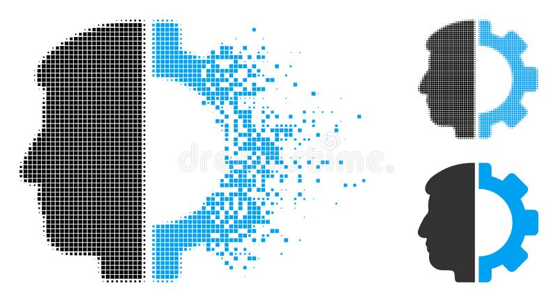 Dot Halftone Android Head Icon de disparition illustration libre de droits