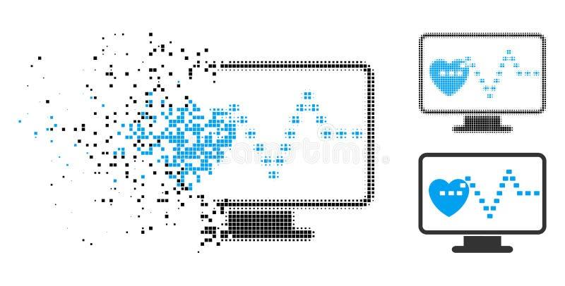 Dot Halftone Cardio Monitoring Icon descompuesto ilustración del vector