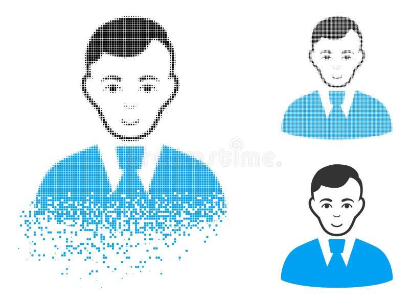 Dot Halftone Clerk Guy Icon Destructed con la cara stock de ilustración