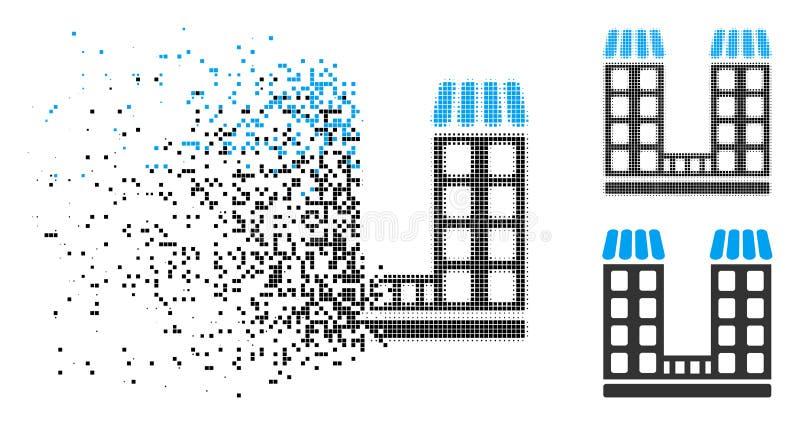 Dot Halftone Company Buildings Icon dañado libre illustration