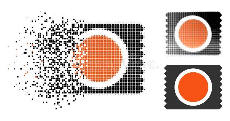 Dot Halftone Condom Pack Icon danificado ilustração royalty free