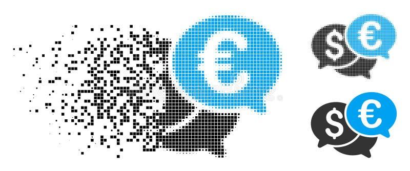 Dot Halftone Currency Bids Icon dañado stock de ilustración