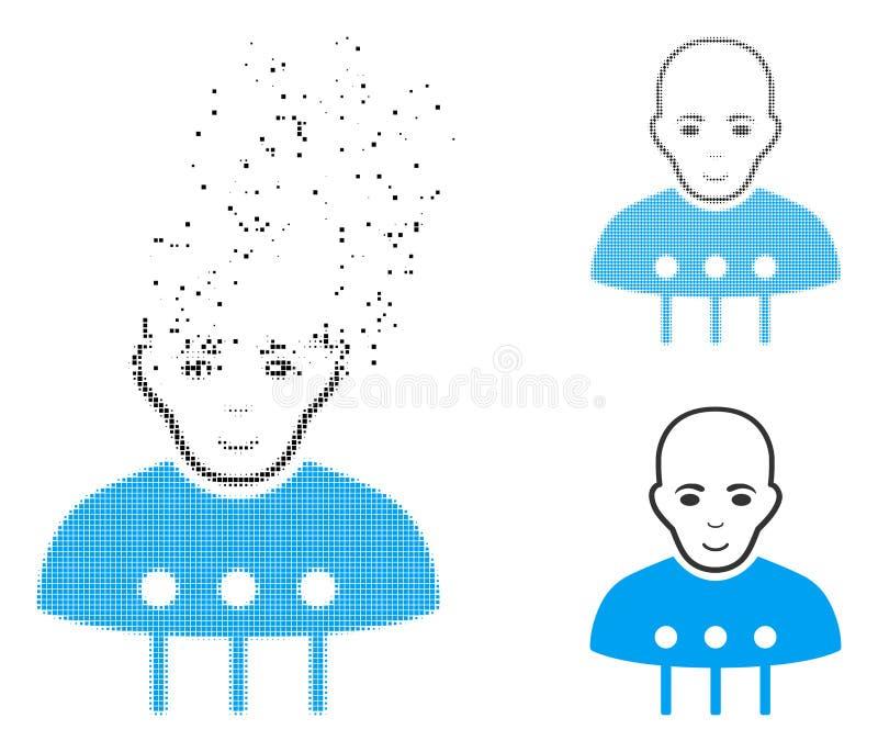 Dot Halftone Cyborg Interface Icon Destructed con la cara ilustración del vector