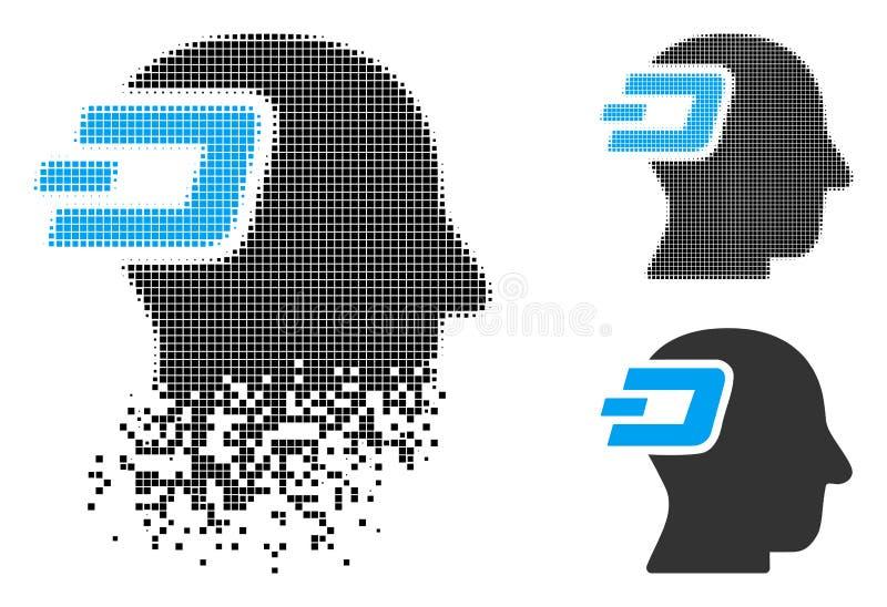 Dot Halftone Dash Imagination Icon destrozado stock de ilustración