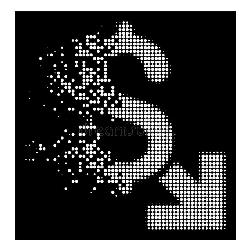Dot Halftone Dollar Decrease Icon décomposé par blanc illustration de vecteur