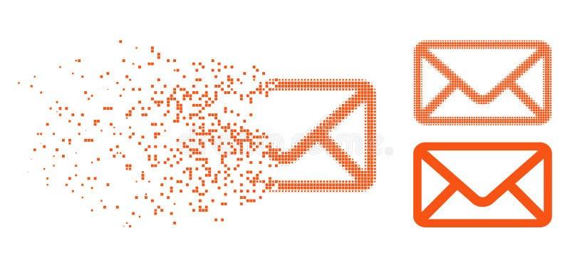 Dot Halftone Envelope Icon hecho fragmentos ilustración del vector