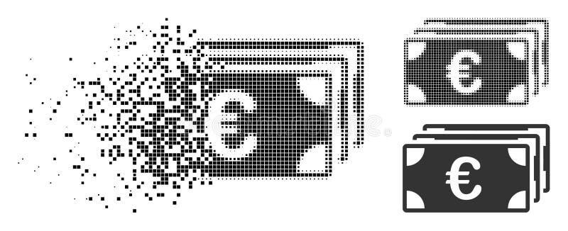 Dot Halftone Euro Banknotes Icon de desaparecimento ilustração stock