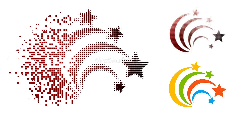 Dot Halftone Festival Fireworks Icon di disintegrazione illustrazione vettoriale