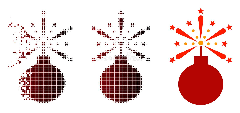 Dot Halftone Fireworks Detonator Icon di disintegrazione illustrazione di stock