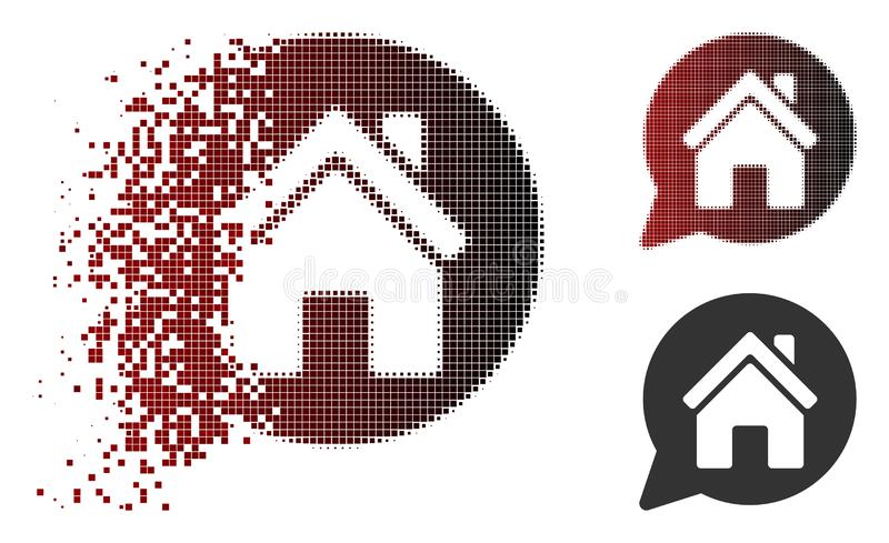 Dot Halftone House Mention Icon dispersé illustration libre de droits
