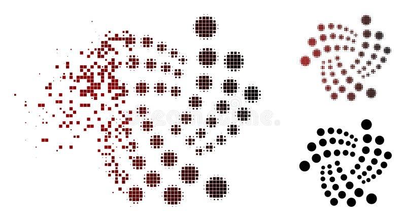 Dot Halftone Iota Currency Icon quebrado stock de ilustración