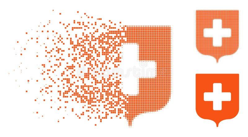 Dot Halftone Medical Shield Icon de desaparición stock de ilustración