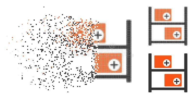 Dot Halftone Medical Warehouse Icon quebrado stock de ilustración