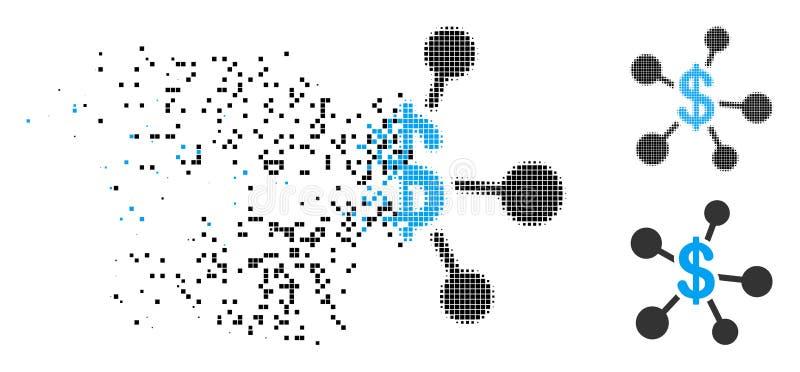 Dot Halftone Money Emission Icon quebrado ilustración del vector