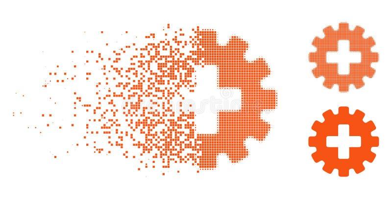 Dot Halftone Plus Gear Icon destrozado ilustración del vector