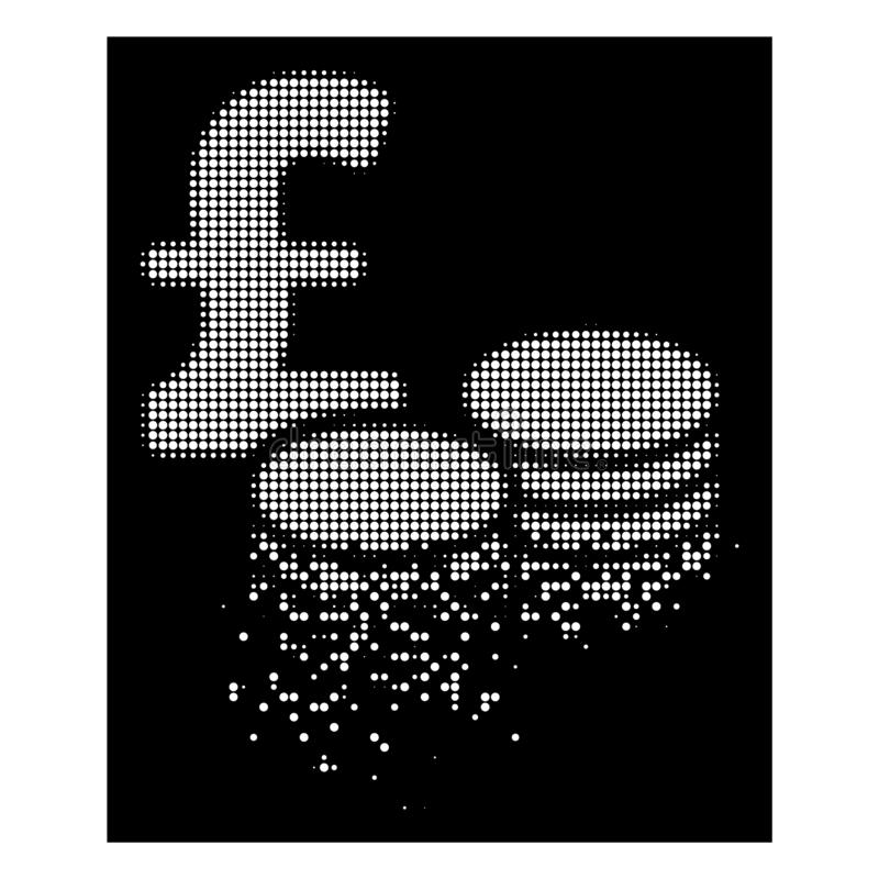 Dot Halftone Pound Coins Icon réduit en fragments par blanc illustration stock