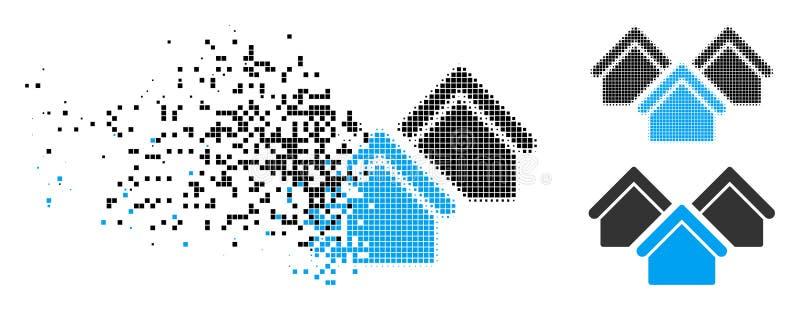 Dot Halftone Real Estate Icon cassé illustration de vecteur
