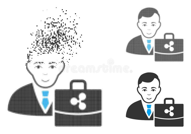 Dot Halftone Ripple Accounter Icon dissolvido com cara ilustração stock