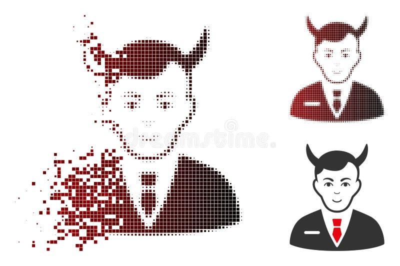 Dot Halftone Satan Icon hecho fragmentos con la cara stock de ilustración