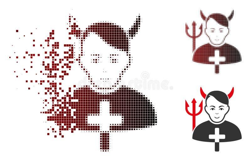 Dot Halftone Satan Priest Icon disuelto con la cara stock de ilustración