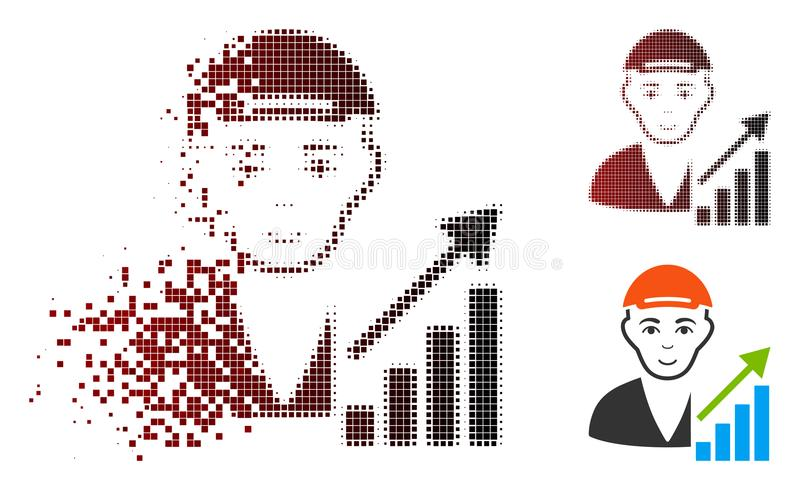 Dot Halftone Stock Trader Icon dispersé avec le visage illustration libre de droits
