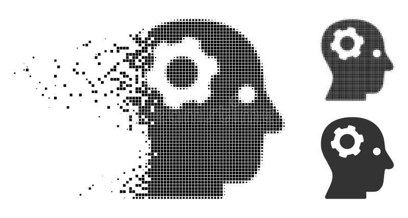 Dot Halftone Thinking Gear Icon de mudanza stock de ilustración