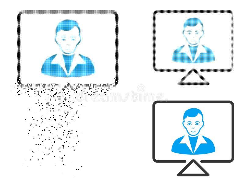 Dot Halftone Video Contact Icon Destructed con la cara stock de ilustración