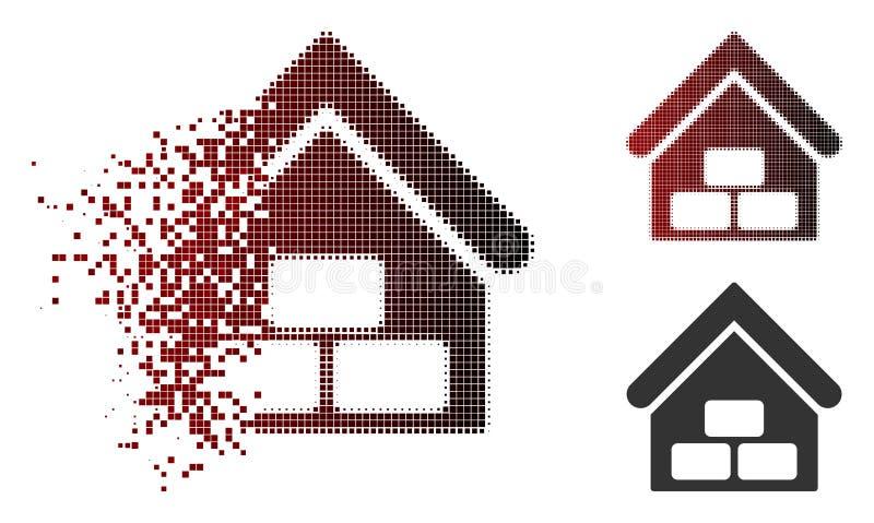 Dot Halftone Warehouse Icon dissolvido ilustração stock