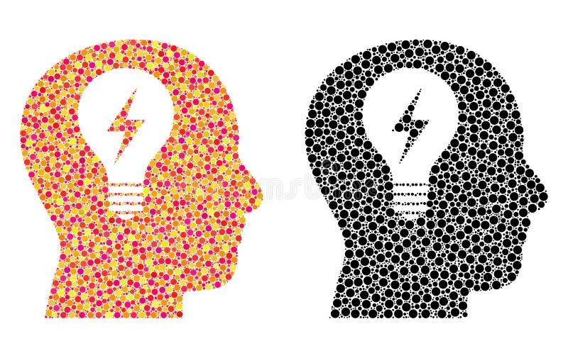 Dot Head Bulb Mosaic Icons vektor illustrationer