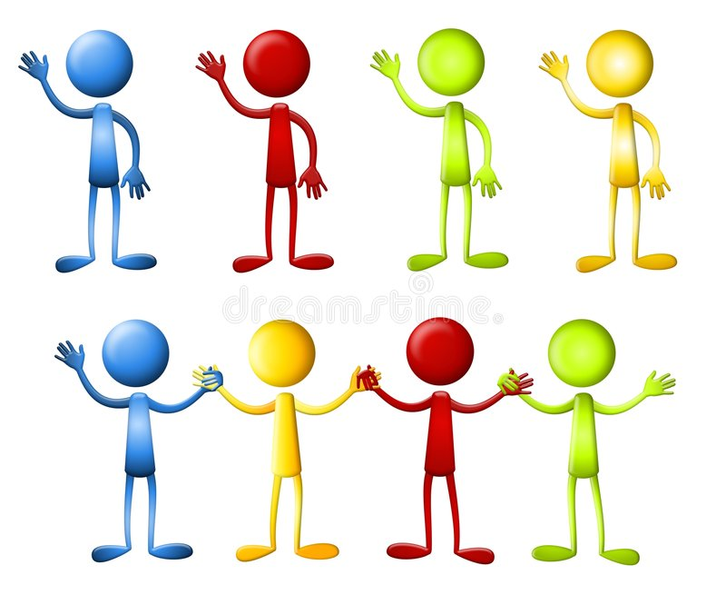 Download Dot Heads Waving Holding Hands Stock Illustration - Image: 5343666