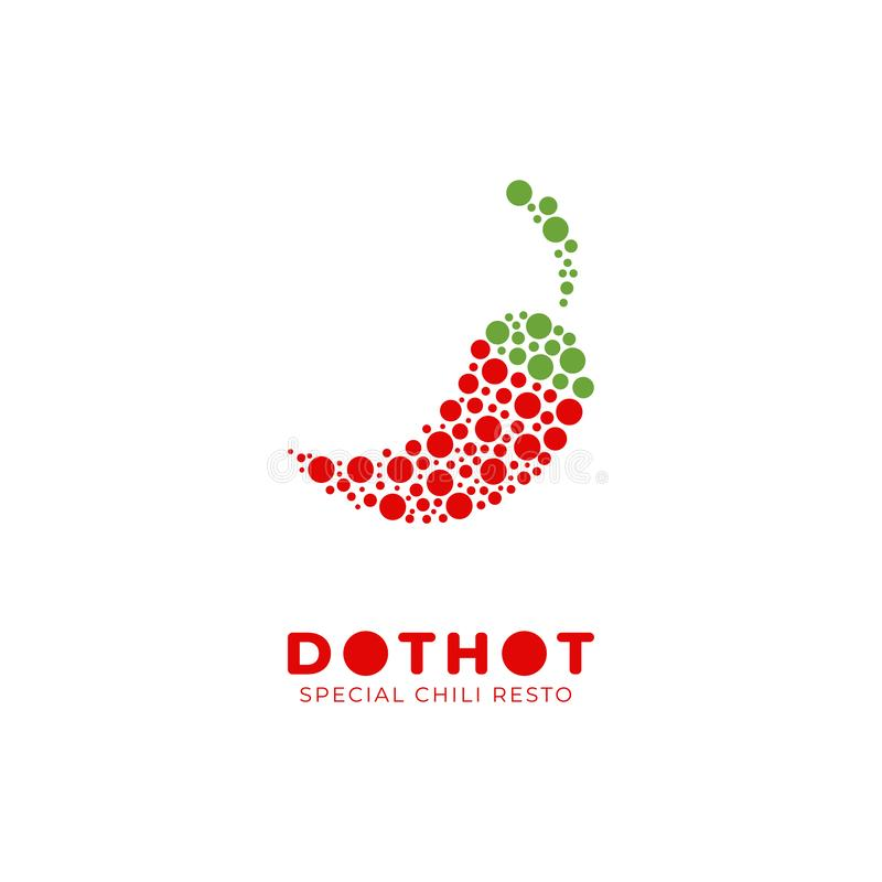 Dot hot special spicy chili logo icon illustration for restaurant or food product stock illustration