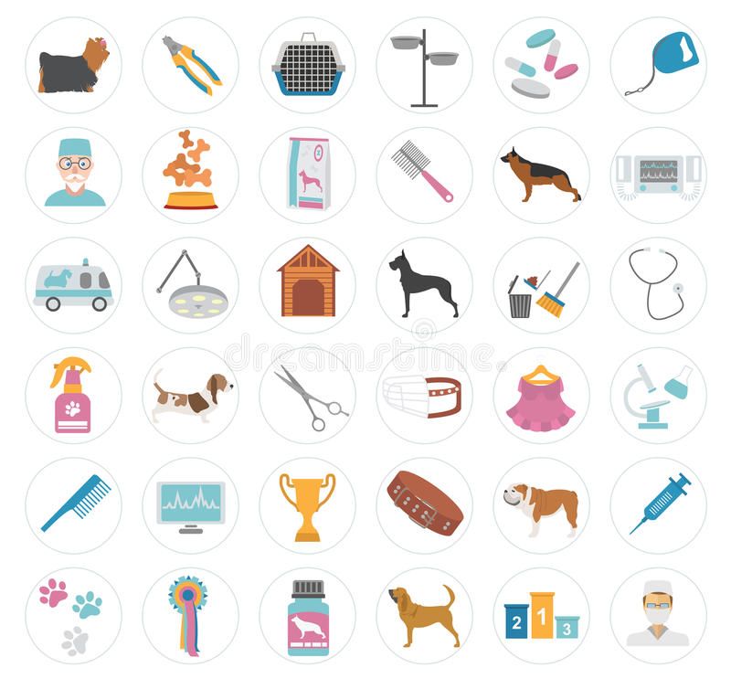Dot Icon Set Heatlhzorg, dierenarts, voeding, tentoonstelling royalty-vrije illustratie
