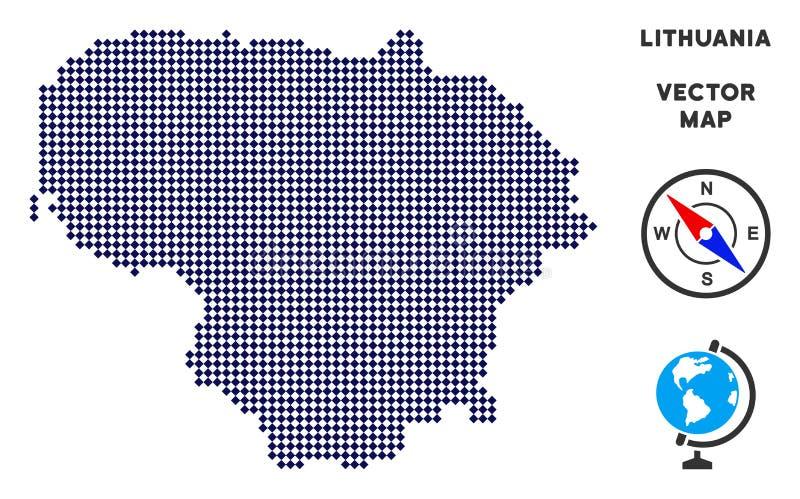 Dot Lithuania Map illustrazione vettoriale