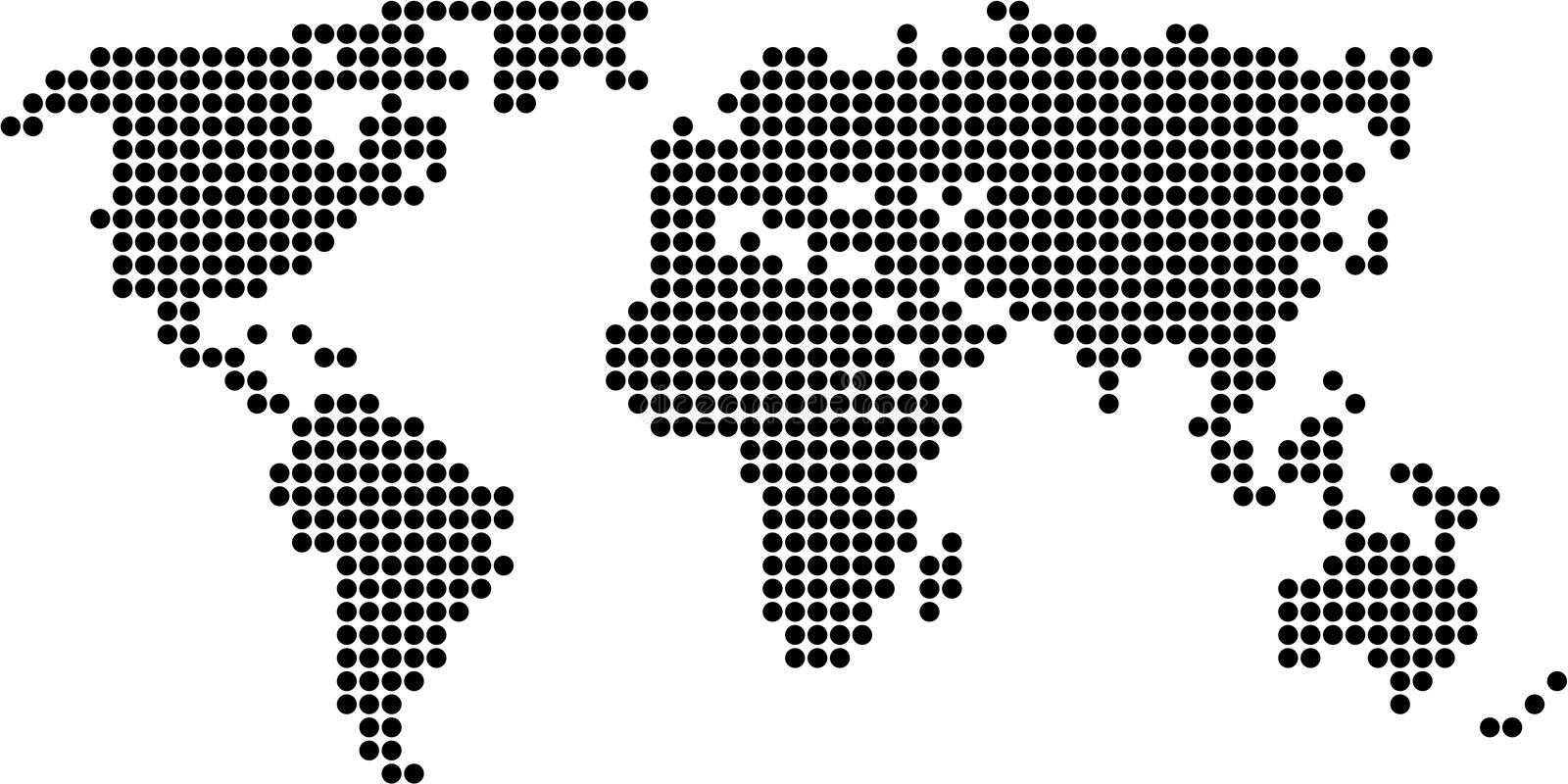 Dot map. Map of the world made up of dots - black design isolated on white