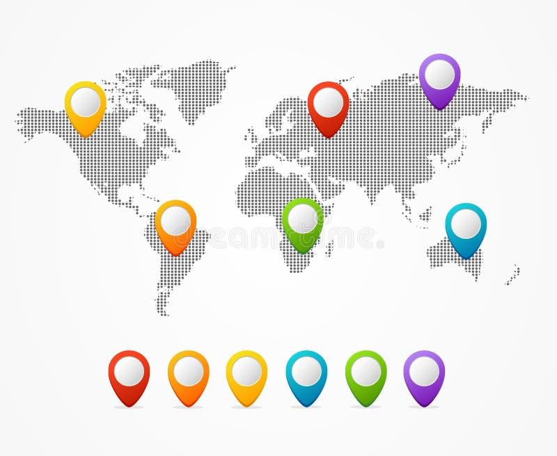 Dot Map Global World vektor stock illustrationer