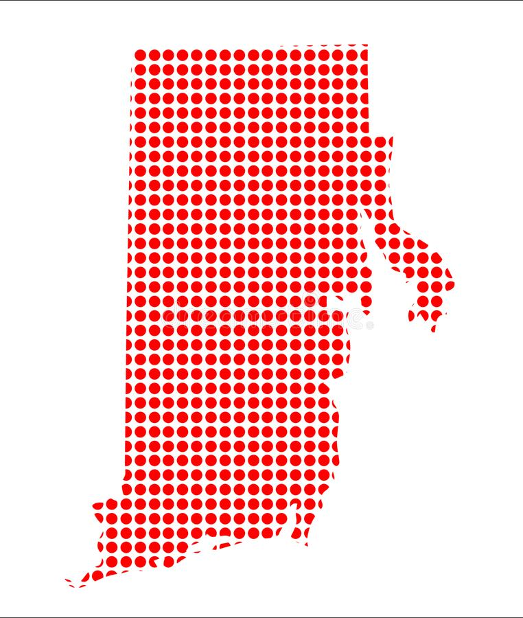 Dot Map rosso del Rhode Island royalty illustrazione gratis