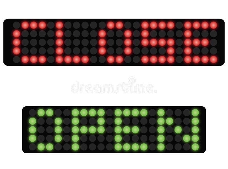 Dot-matrix dicht en open teken vector illustratie