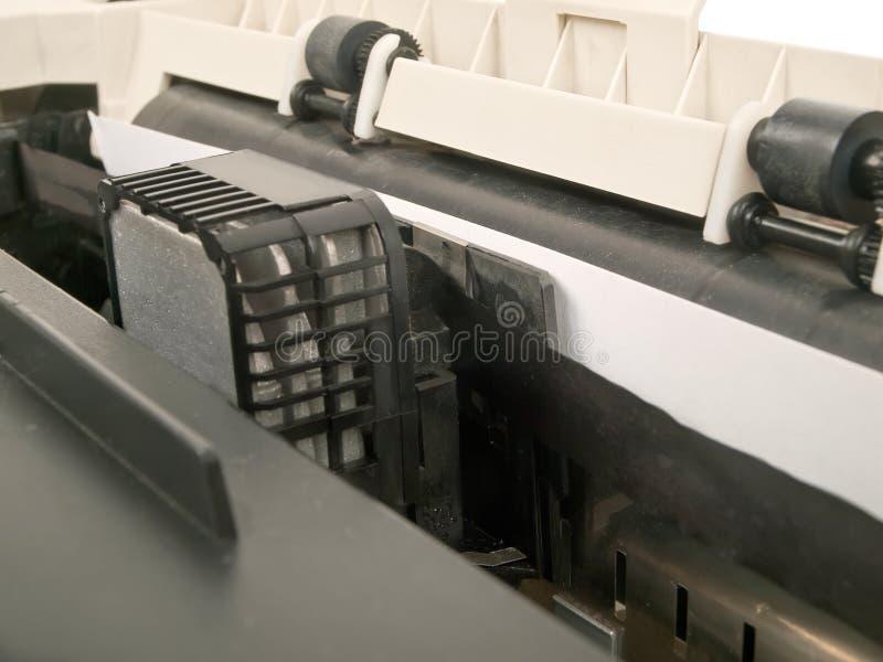 Dot matrix printer. Old dirty dot matrix printer in function stock photography