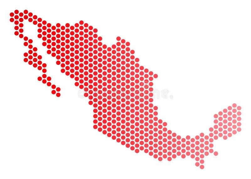 Dot Mexico Map rojo stock de ilustración