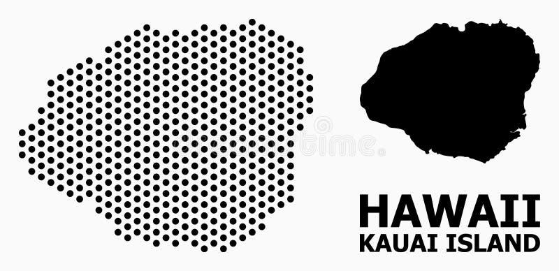 Dot Mosaic Map de la isla de Kauai ilustración del vector